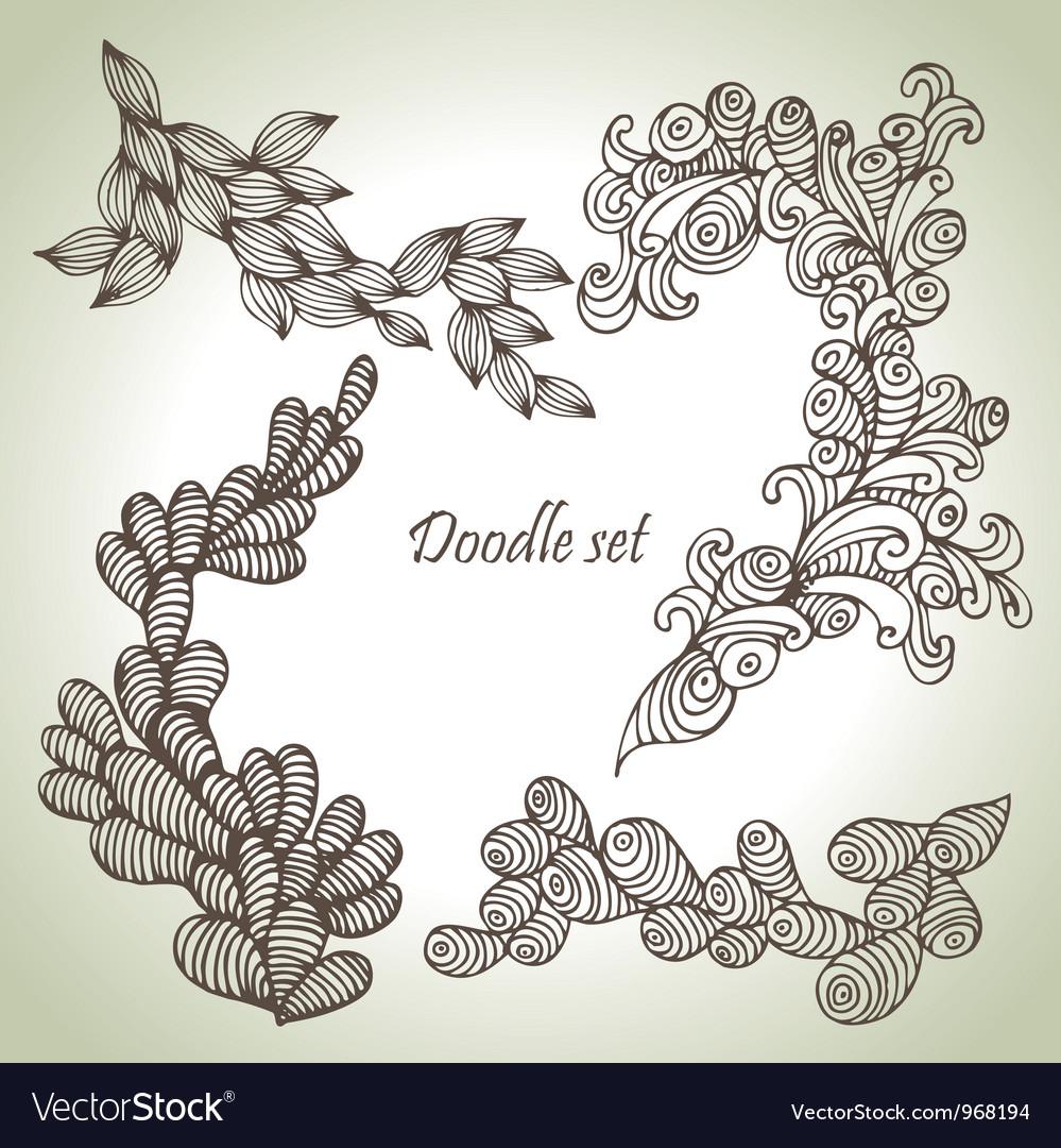 Doodle set vector image