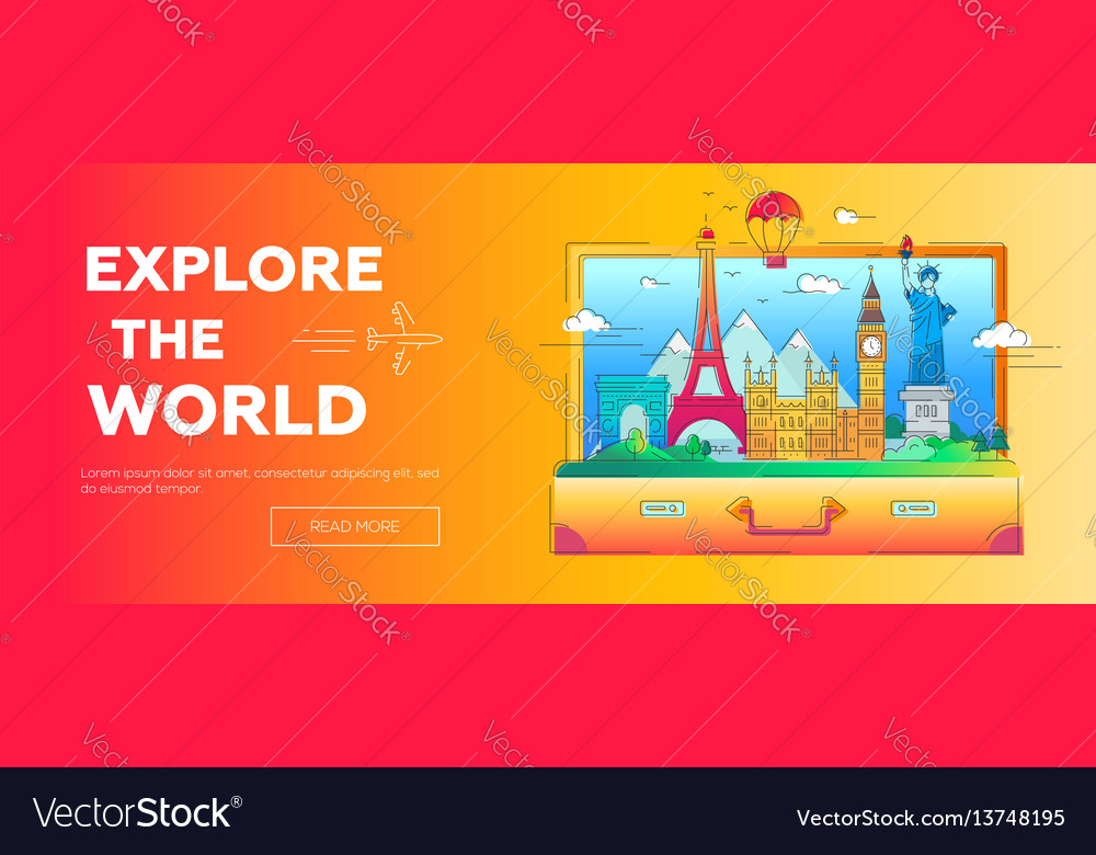Explore the world - line travel banner vector image