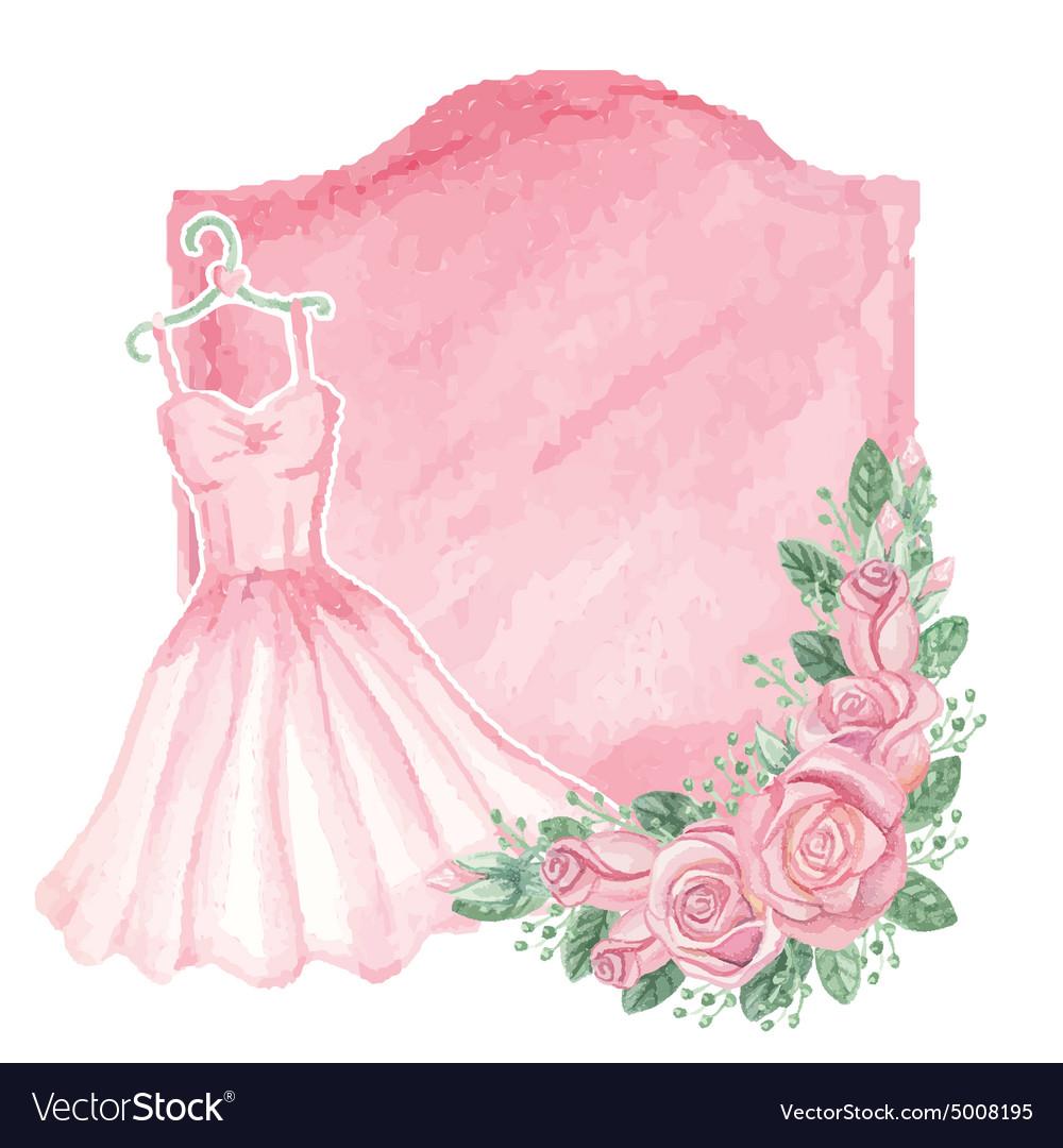 Watercolor pink dress roses decorbadgeVintage vector image