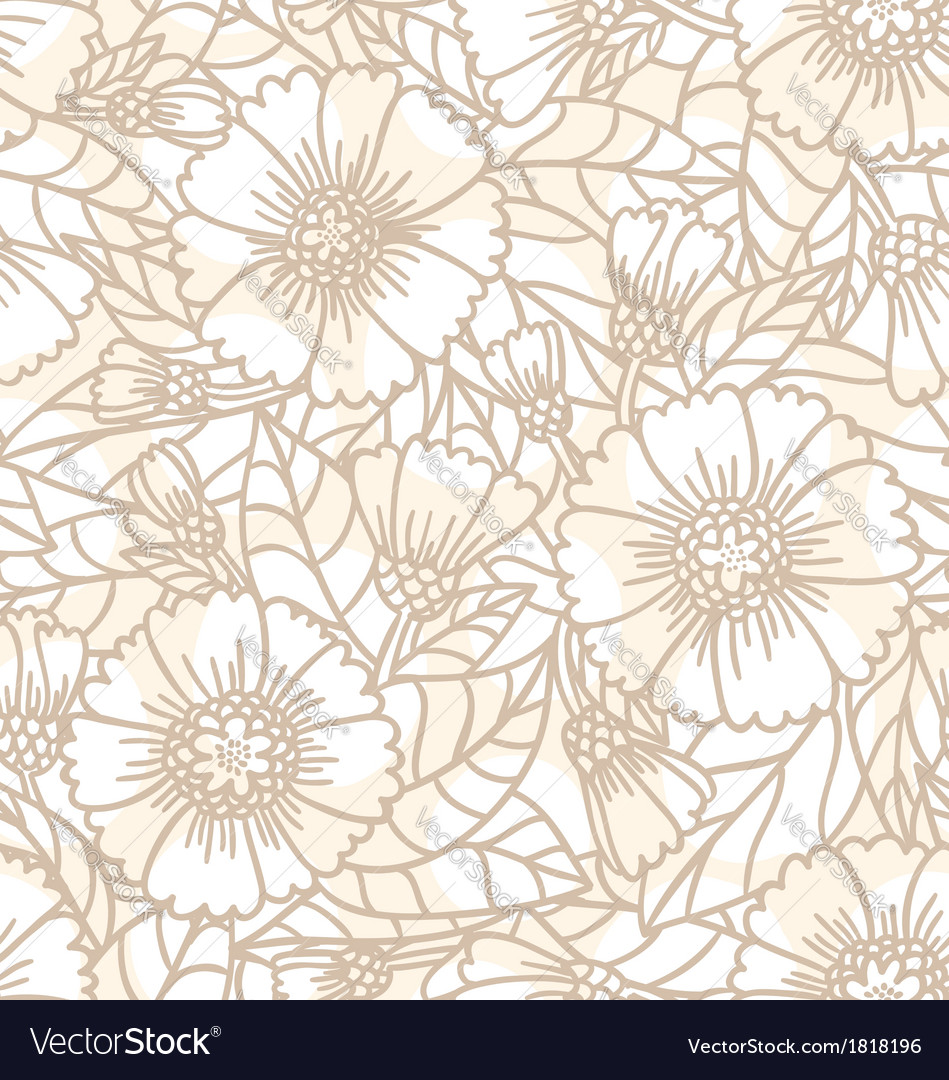 Daisy doodle seamless pattern vector image