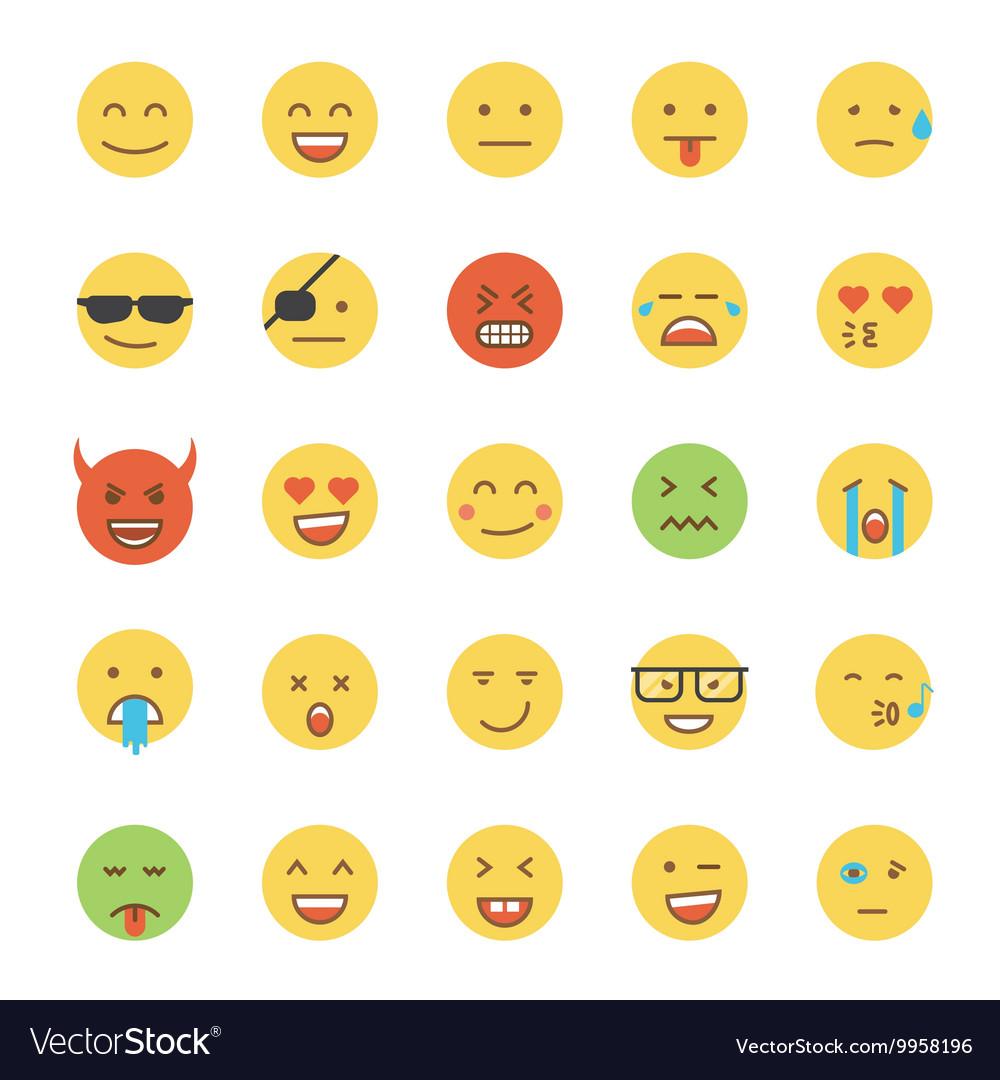 Flat Design Emoji Round vector image