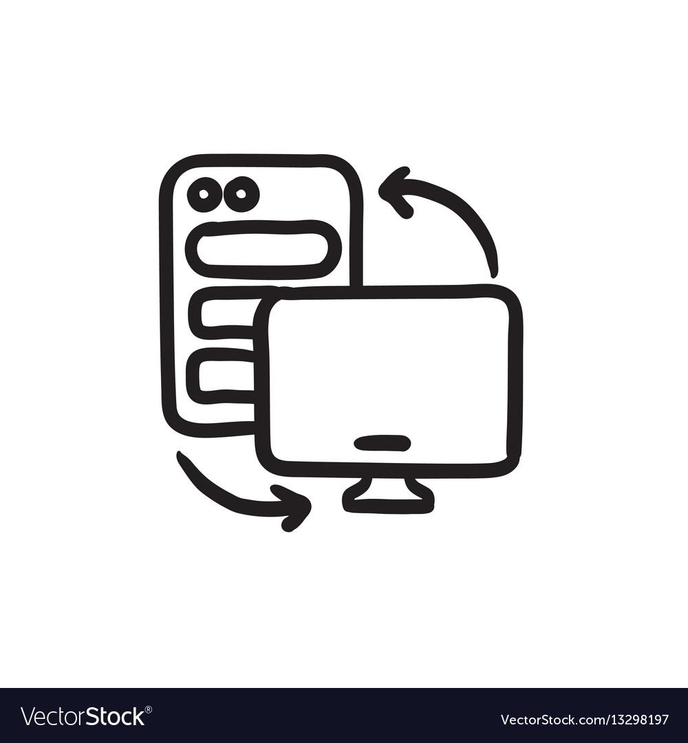 Personal computer set sketch icon vector image
