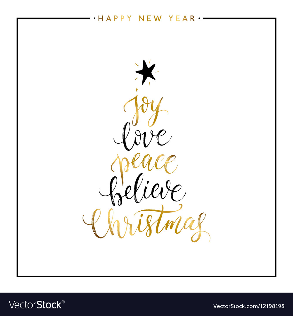 Joy love peace believe Christmas gold text vector image