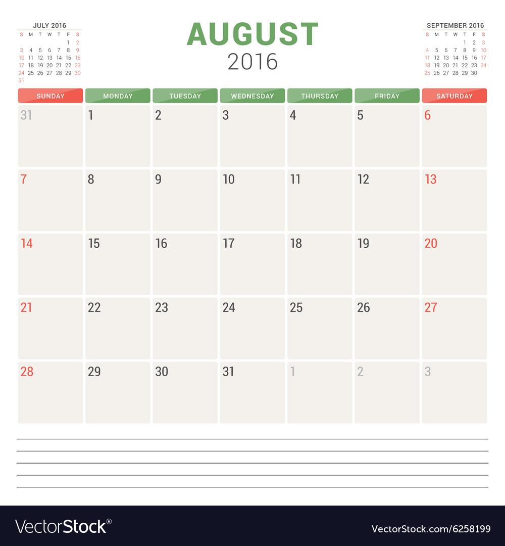 Calendar Planner 2016 Flat Design Template August vector image