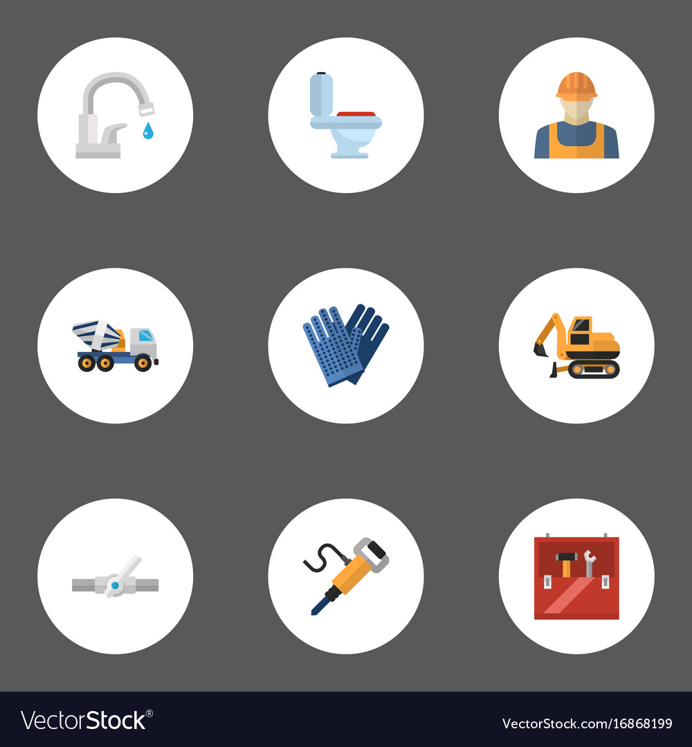 Flat icons pneumatic tractor restroom and other vector image