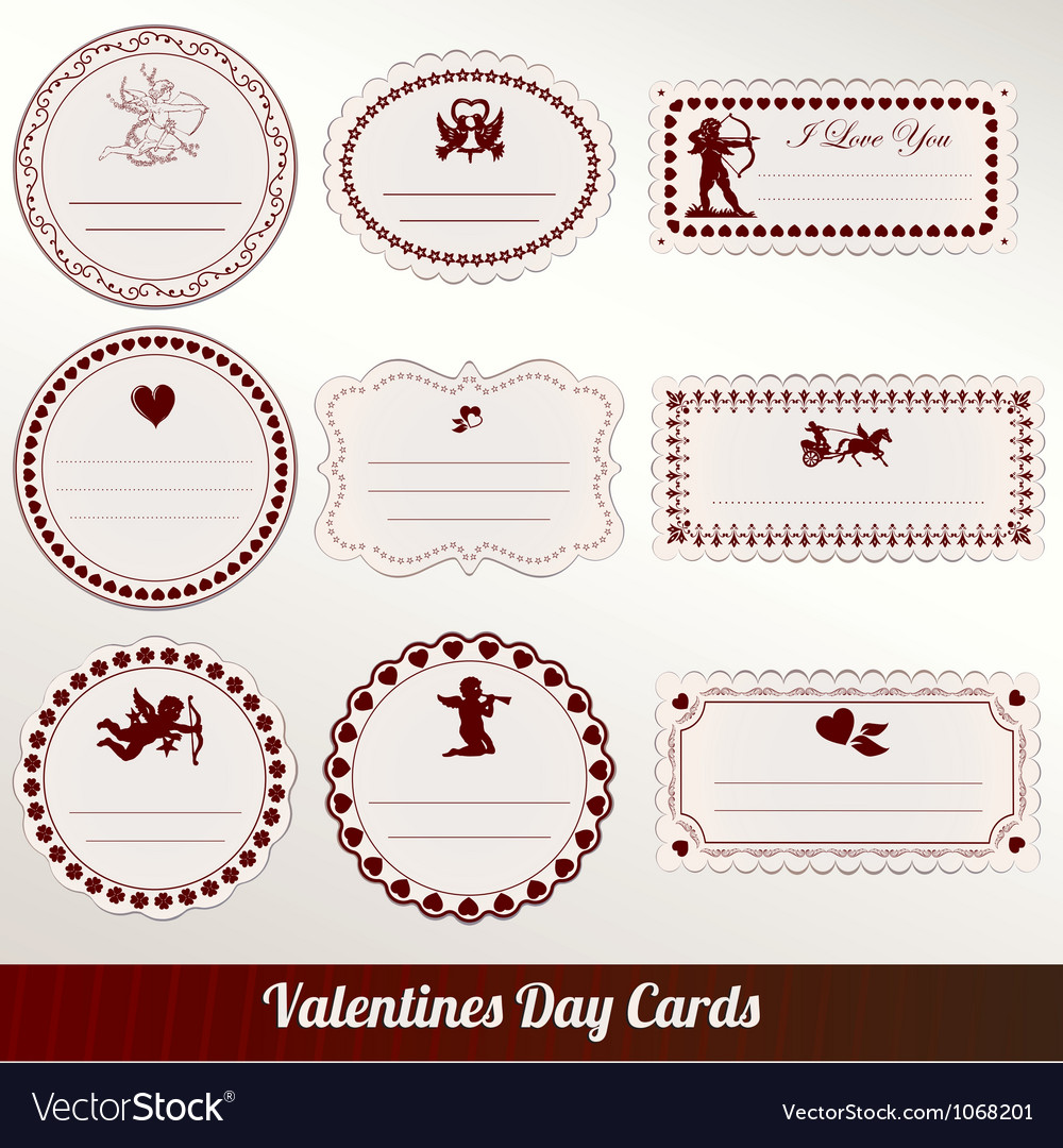 Set of valentines day vintage vector image