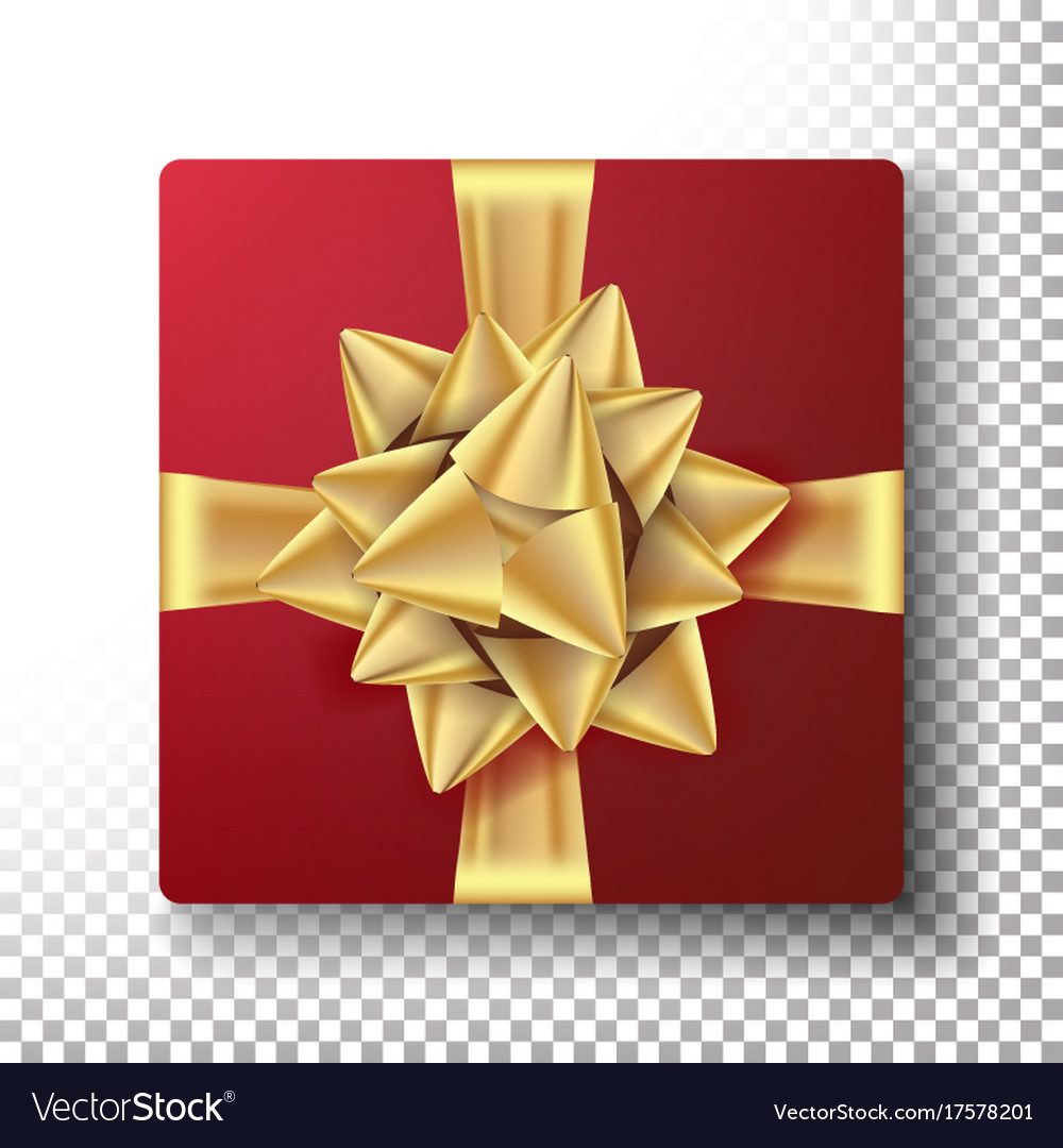 Christmas gift with gold bow design vector image