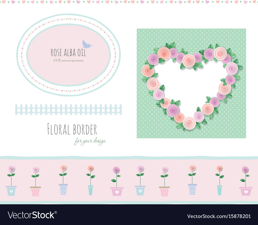Floral borders frames and decorative elements set vector image