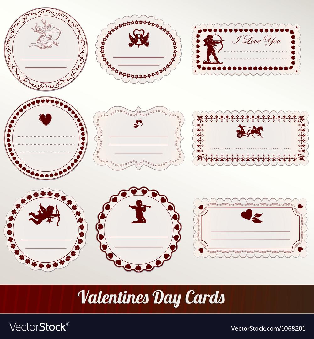 Set of valentines day vintage vector image
