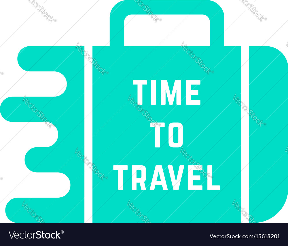 Time to travel with green melted suitcase vector image