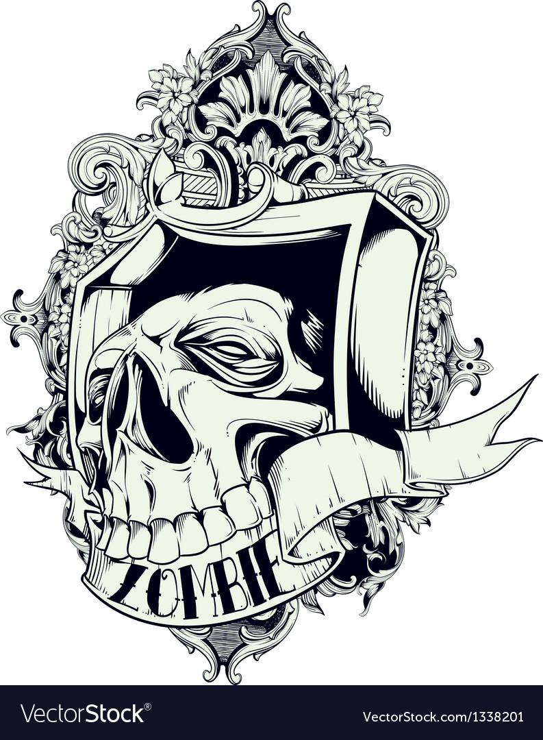 Zombie skull vector image