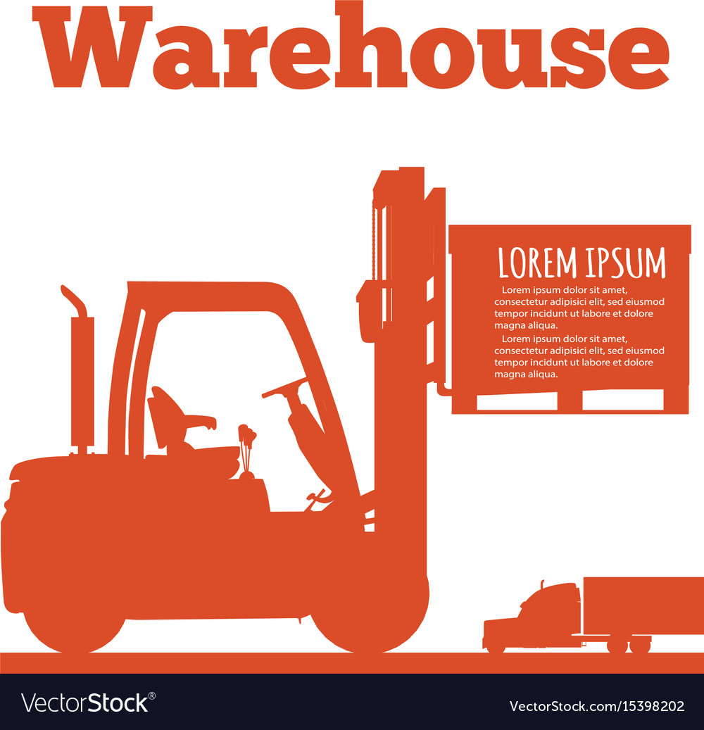 Warehouse banner with forklift truck silhouette vector image