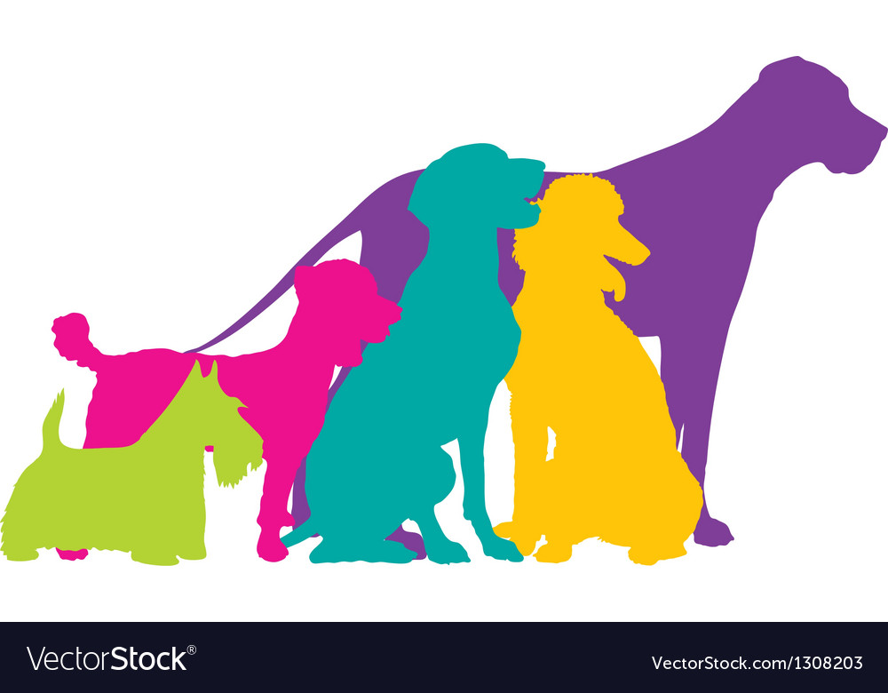 Dog Silhouettes Colour vector image