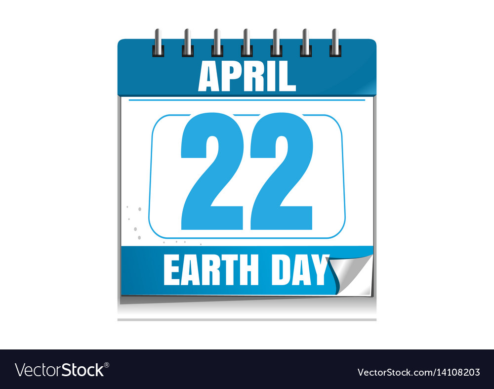 Earth day date in the calendar 22 april vector image