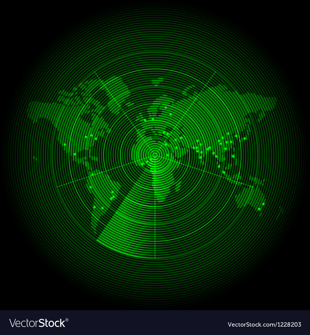 Green world map with a radar screen vector image