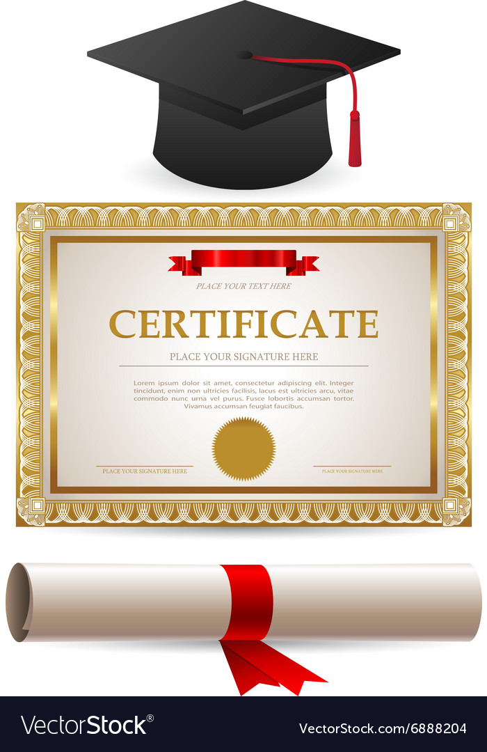 Golden certificate diploma and graduation cap vector image