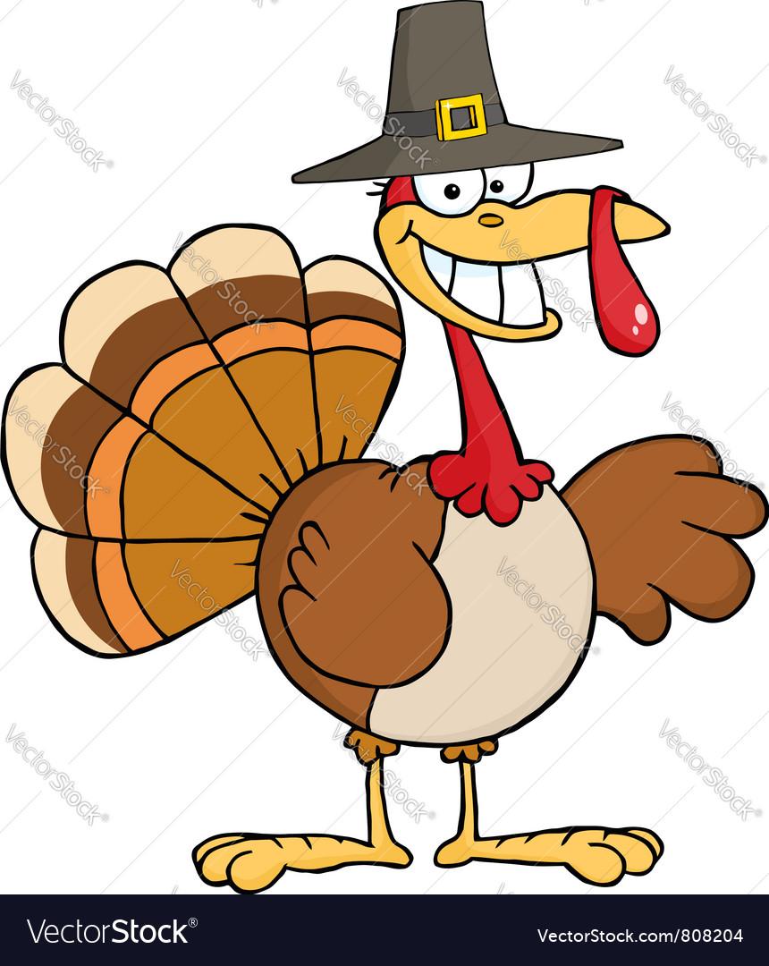 thanksgiving pilgrim turkey bird smiling vector image