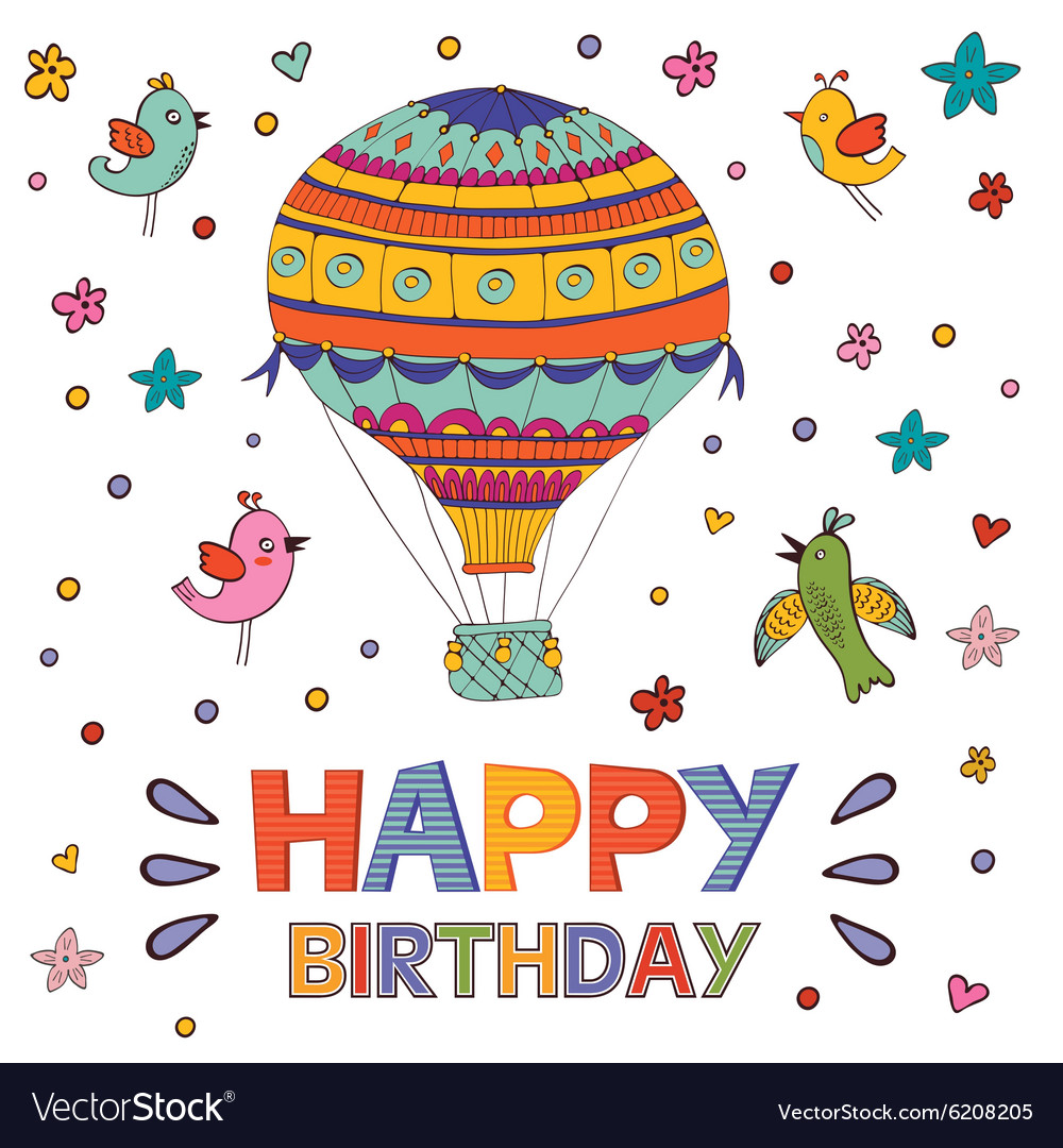 Happy birthday card with hot air balloon and birds happy birthday card with hot air balloon and birds vector image bookmarktalkfo Image collections