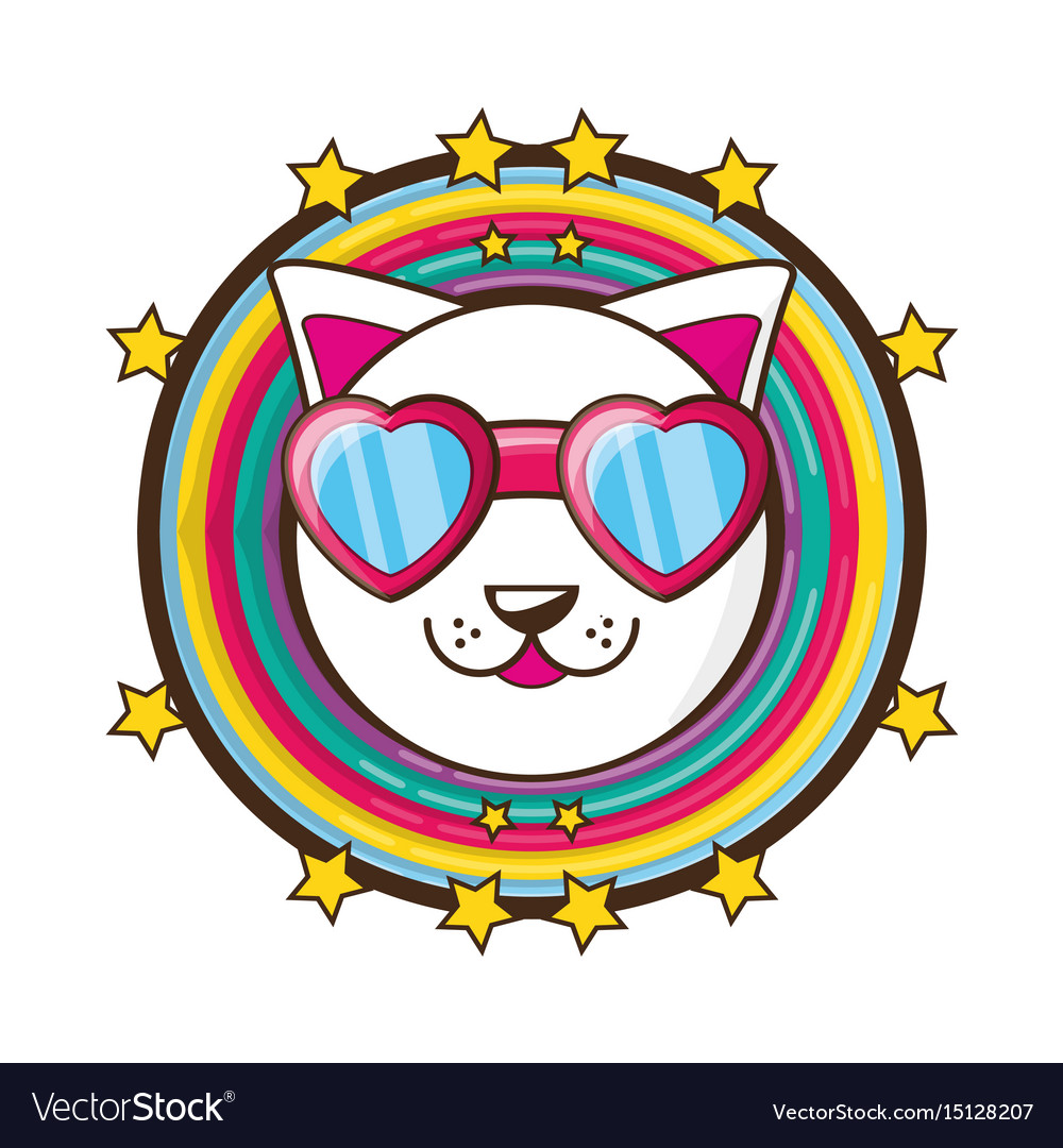 Adorable little cat with cute face vector image