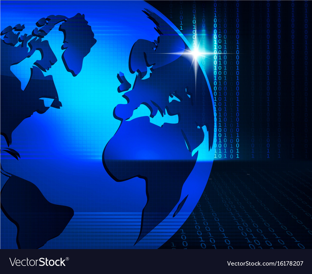 Blue background with outlines of the globe vector image