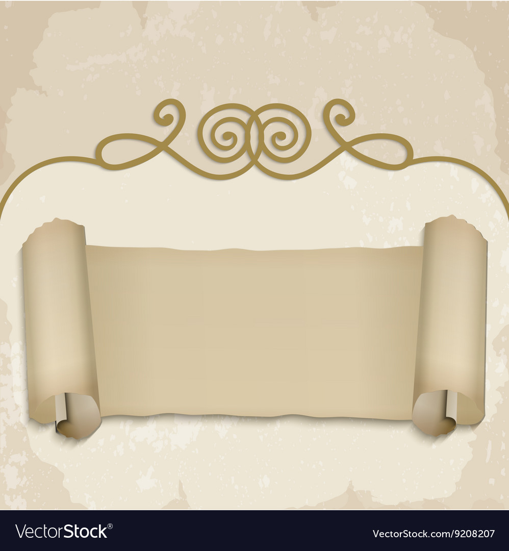 Scroll on old background vector image