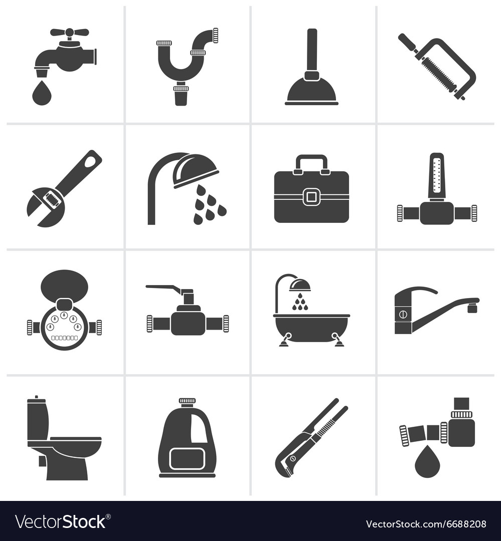 Black plumbing objects and tools icons vector image
