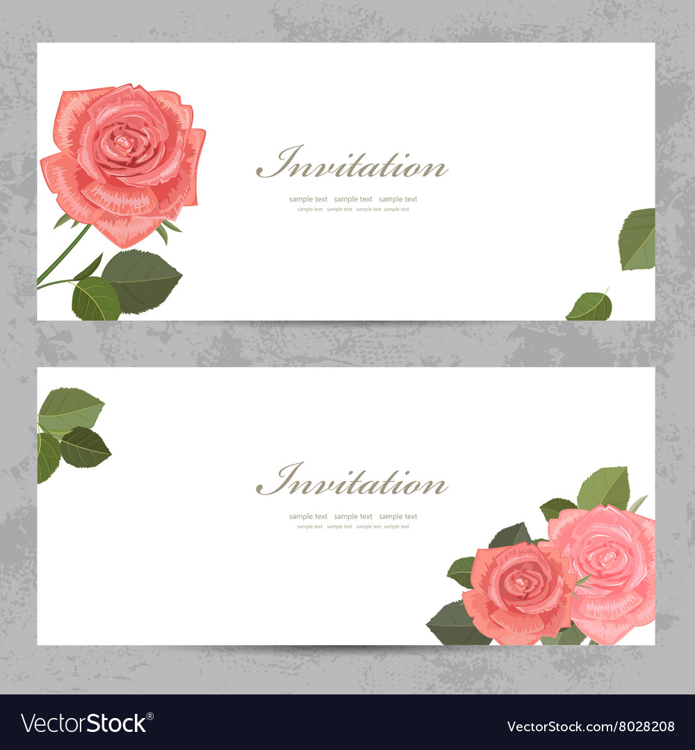 Neat invitation cards with lovely roses for your vector image
