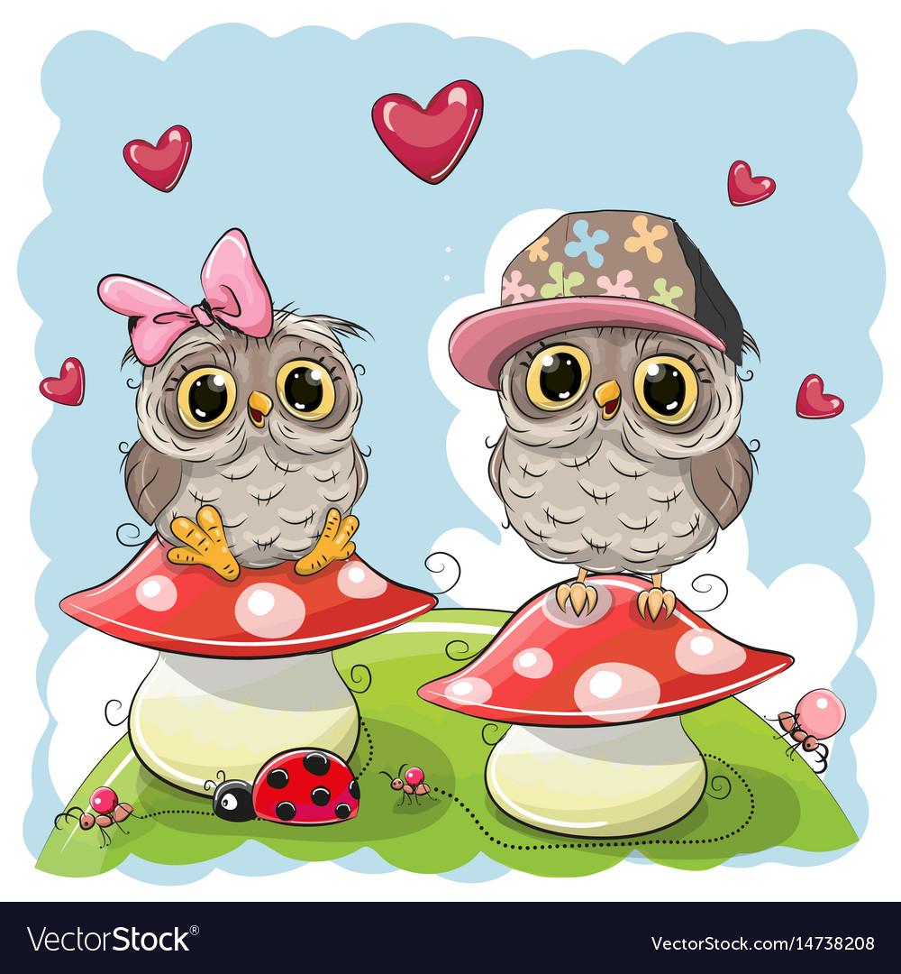 Two cute cartoon owls on mushrooms royalty free vector image two cute cartoon owls on mushrooms vector image voltagebd Images