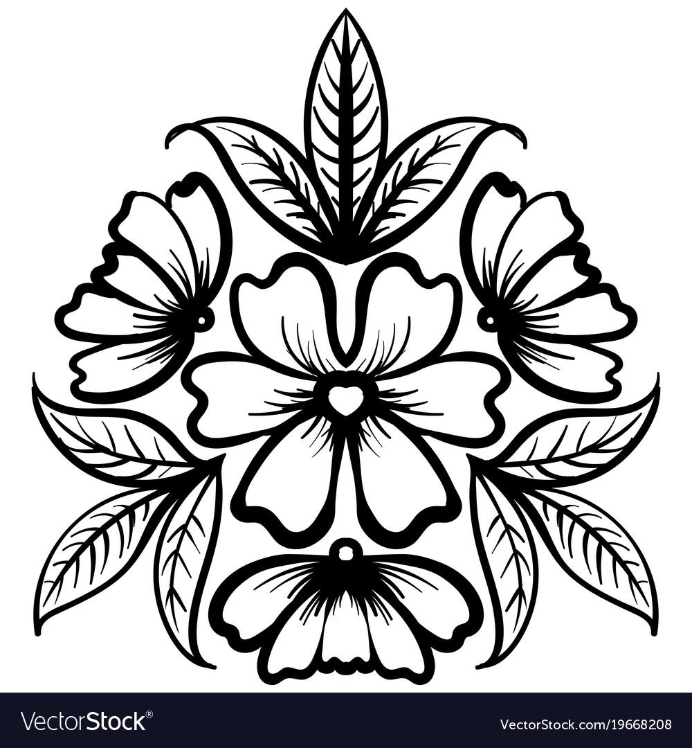 Wild rose flowers drawing and sketch line art vector image mightylinksfo Gallery