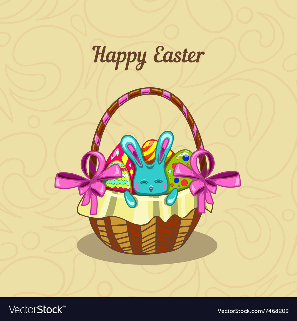 Greeting card with Easter bunny in a basket vector image