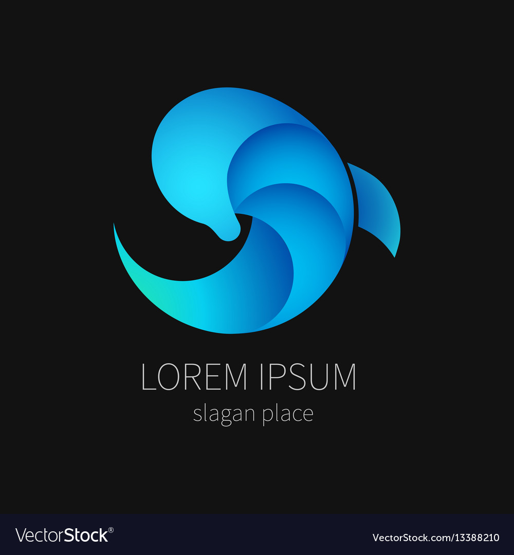 Blue dolphin on black background for company and vector image