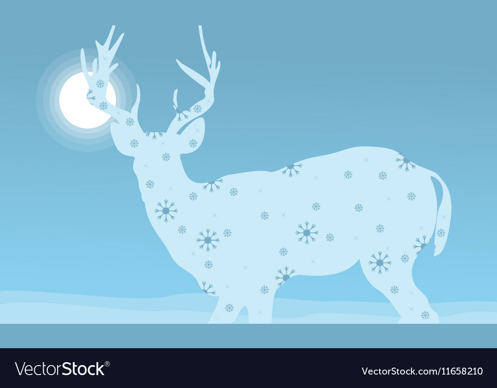 Deer winter Christmas holiday vector image