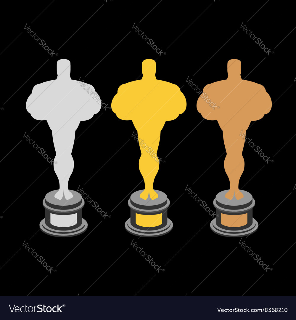 Golden statuette Bronze statuette Silver statuette vector image