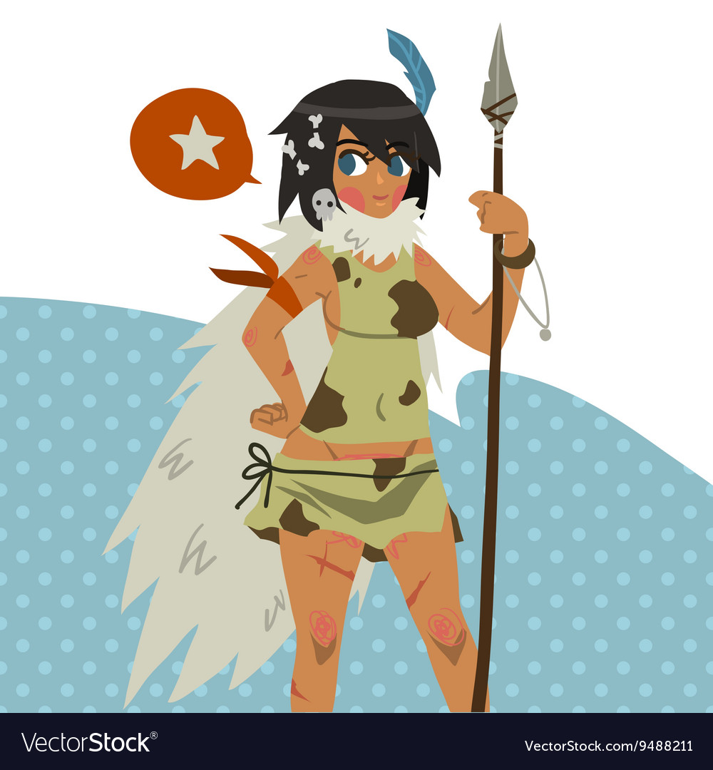 Cartoon cute amazon girl flat mascot vector image