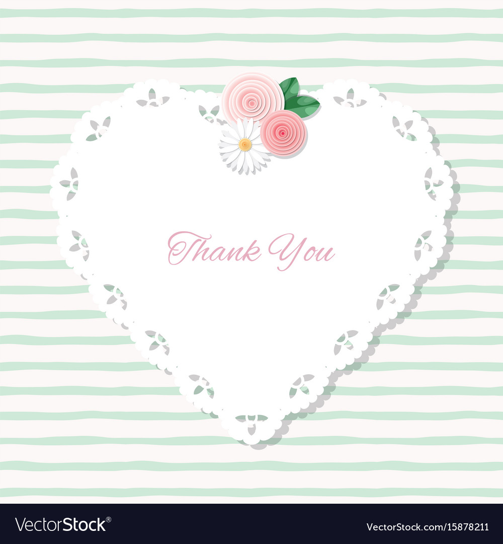 Heart doily frame decorated with roses on stripped vector image