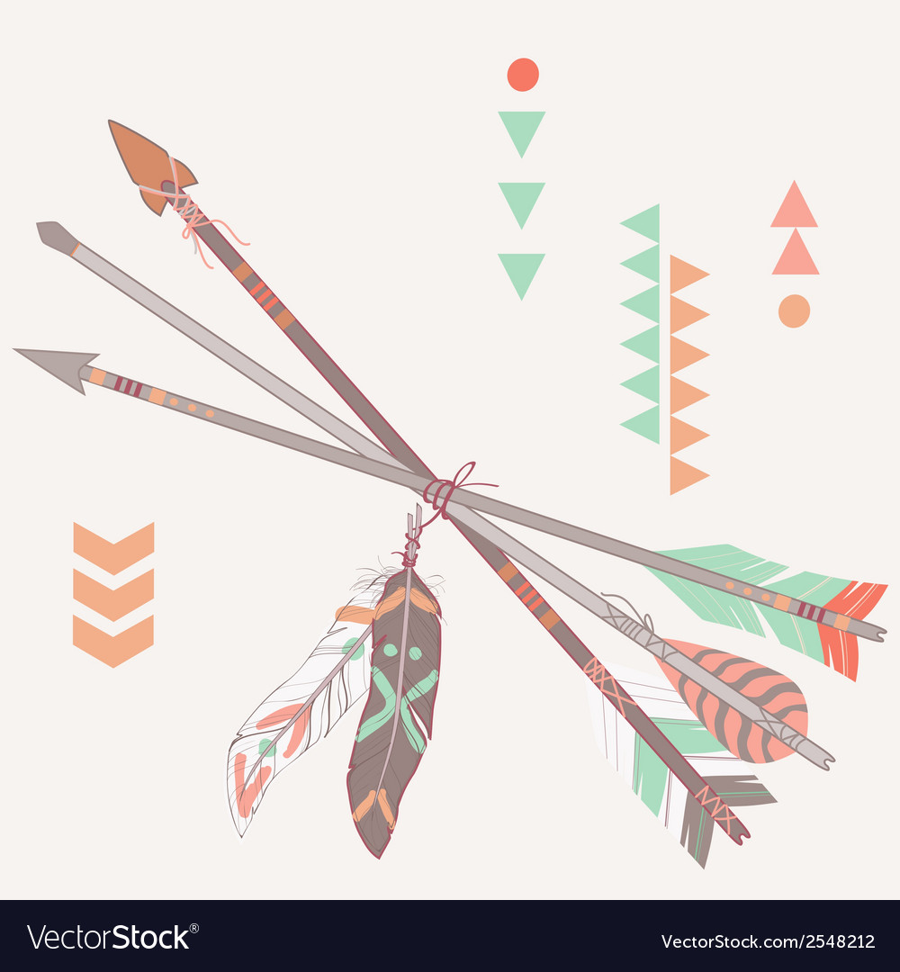 Different ethnic arrows with feathers vector image
