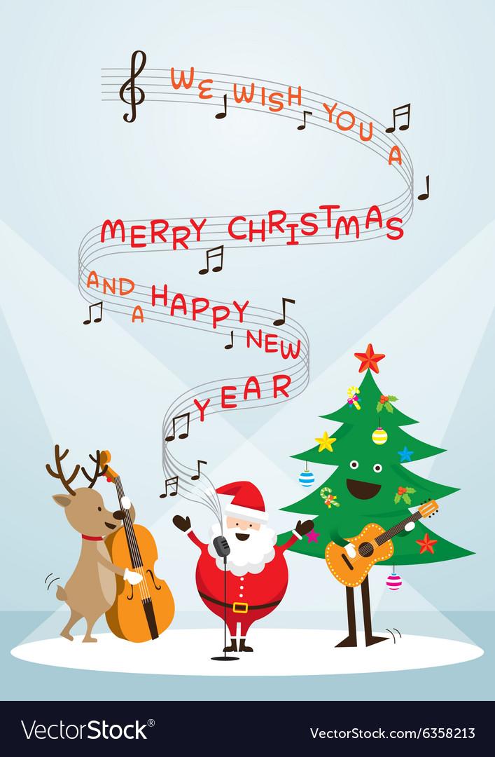 Santa Claus Snowman Reindeer Sing a Song vector image