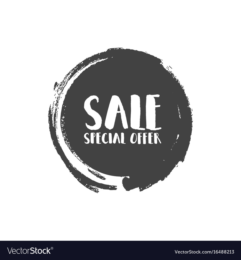 Special offer sale grunge circle badge shape vector image