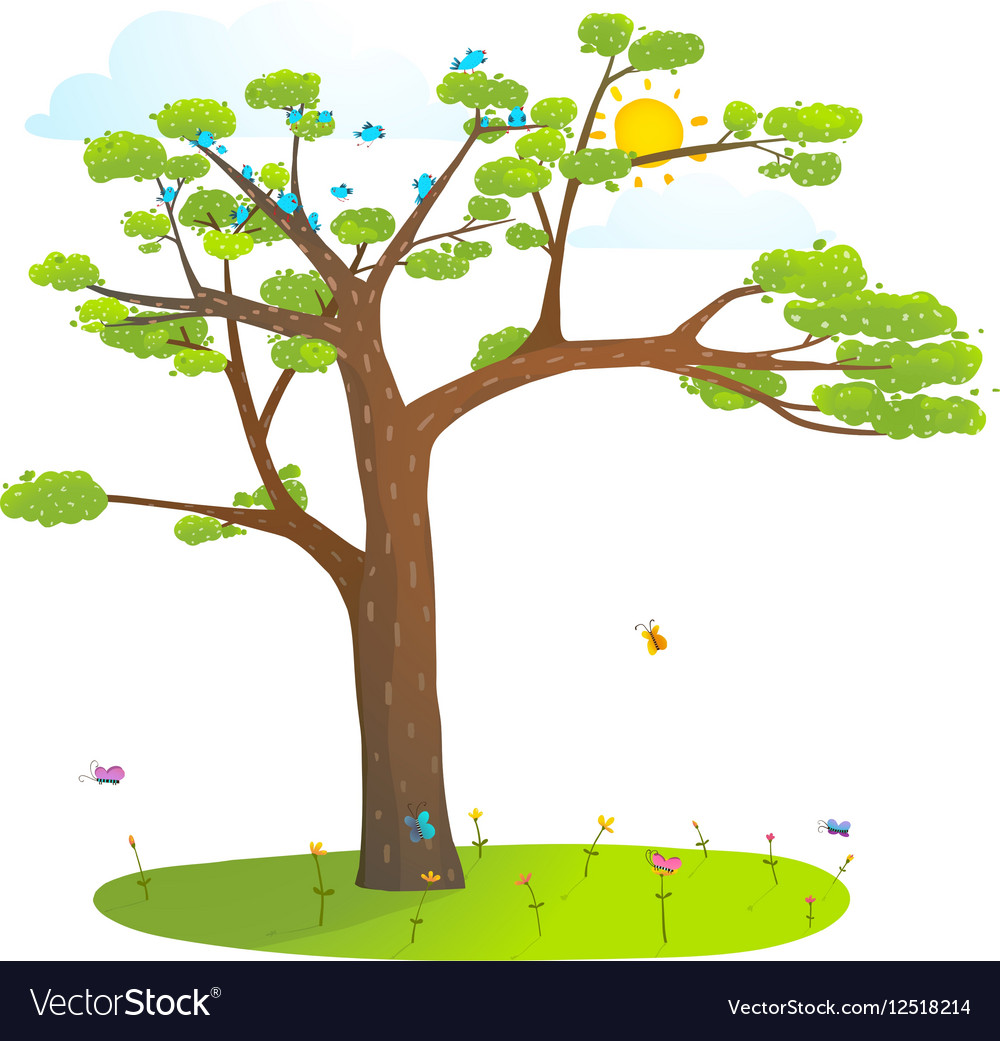 Tree on the grass lawn sky and sun wild landscape vector image