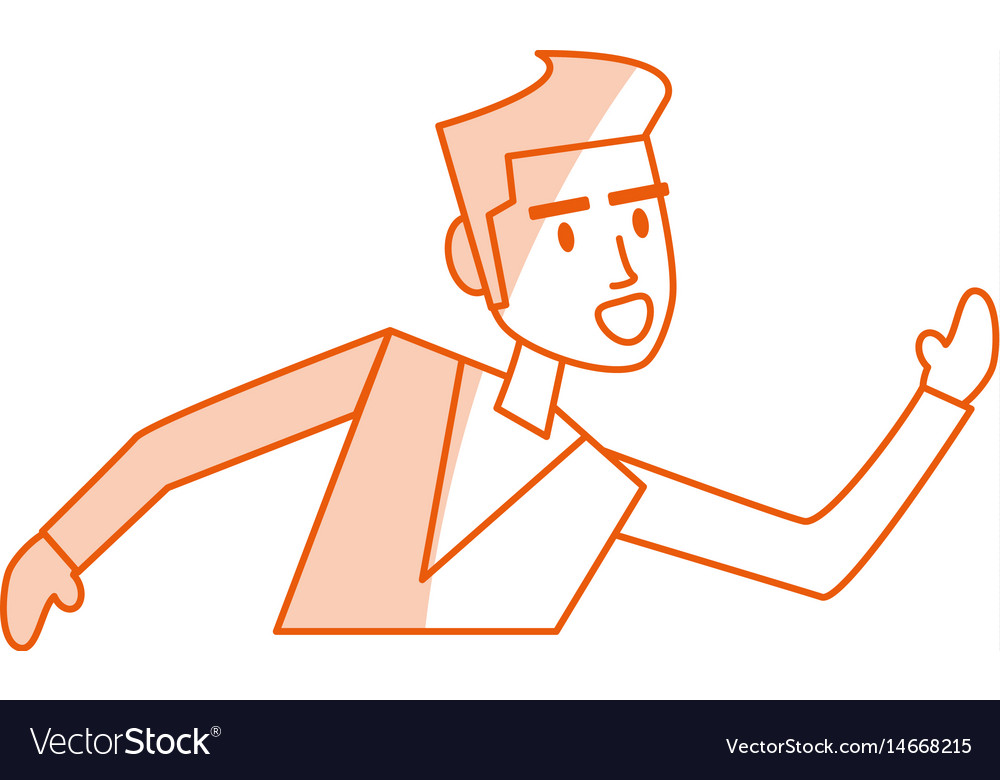 Red silhouette shading image half body man running vector image