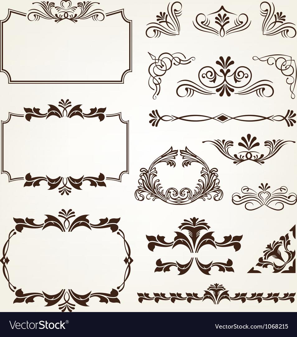 Classic Corner Flowers Leaf Vintage Line Border Retro Vector: Vintage Retro Calligraphic Borders Royalty Free Vector Image