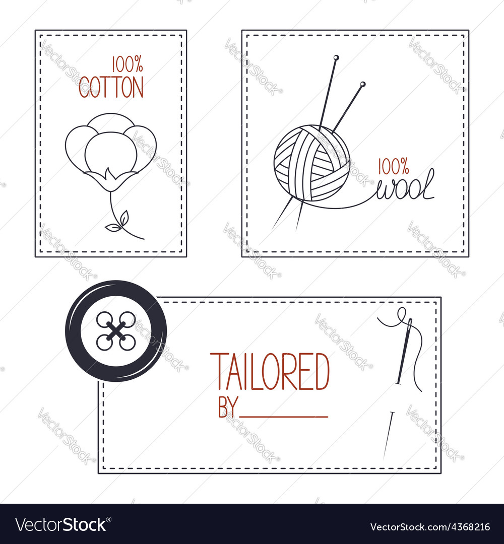 Emblems for cotton wool and tailor products vector image