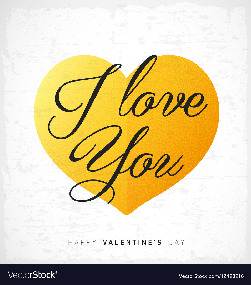 I Love You Happy Valentines Day Lettering Card vector image