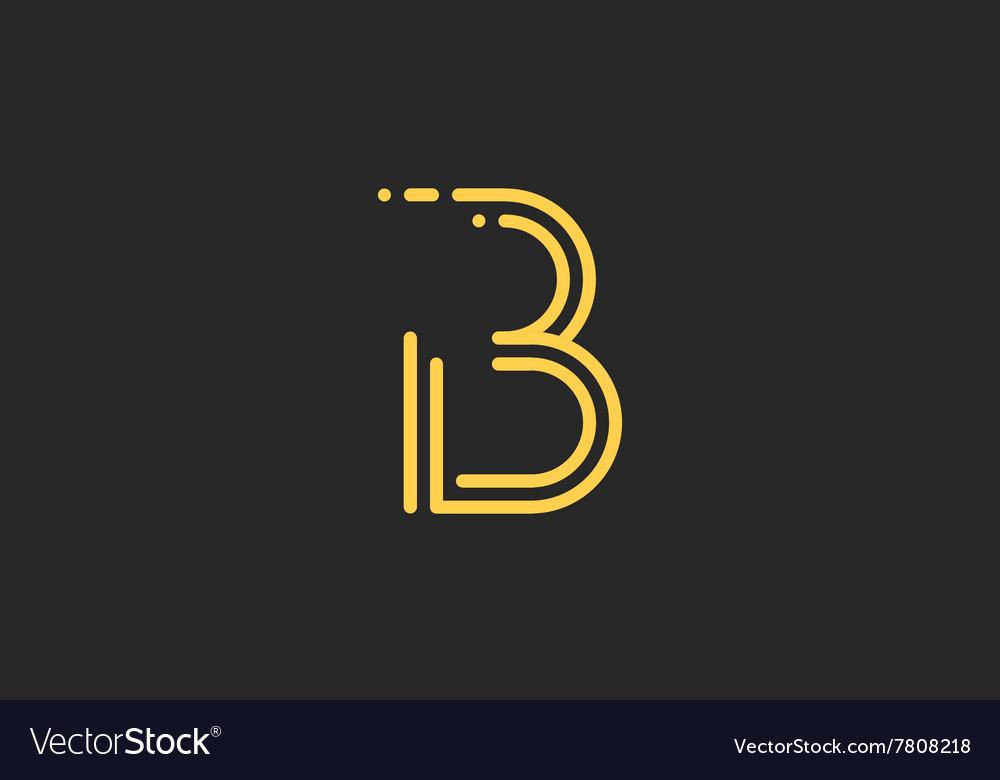B letter logo Line logo Creative logo design vector image