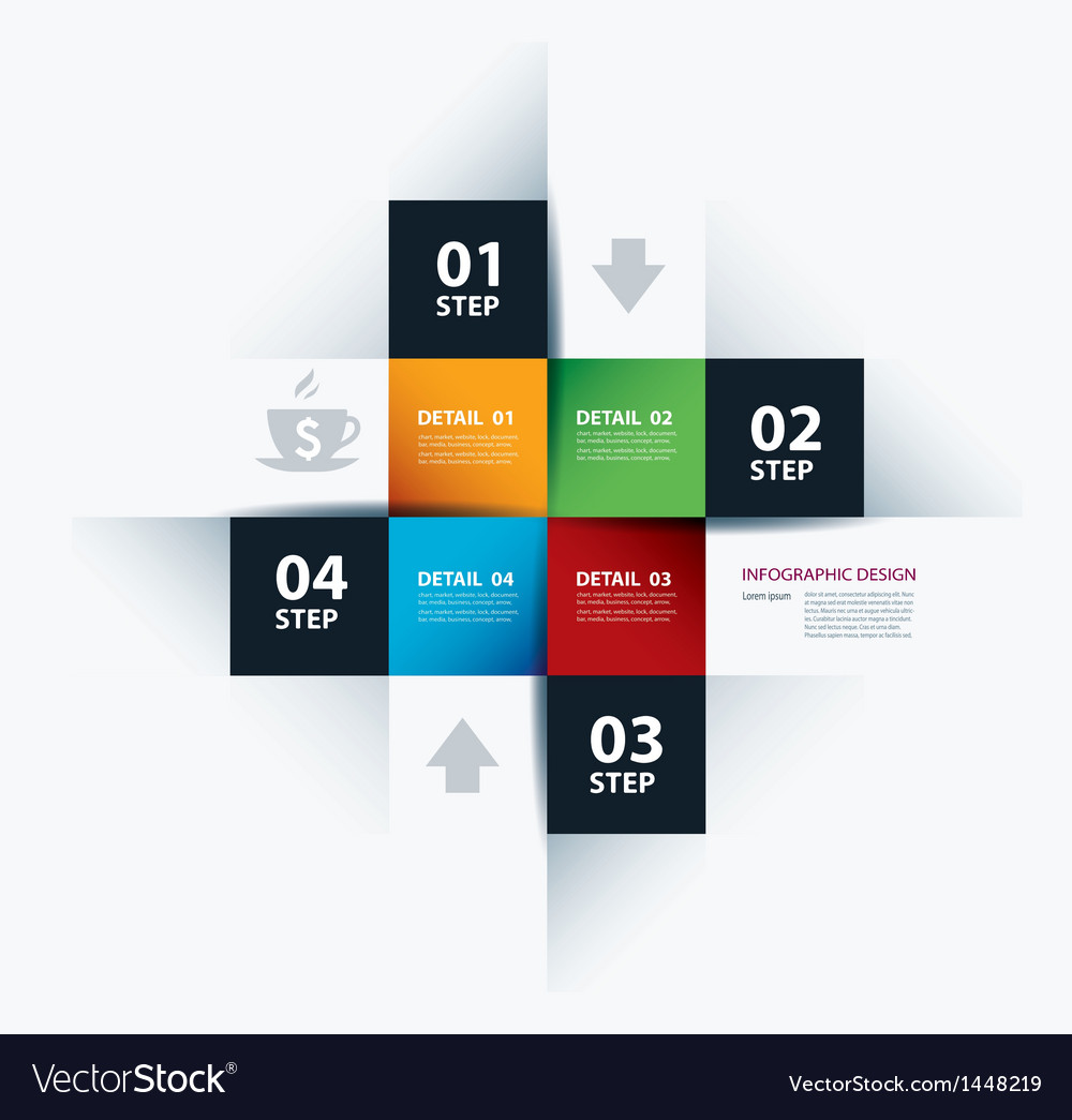 Business Step Paper Lines And Numbers vector image
