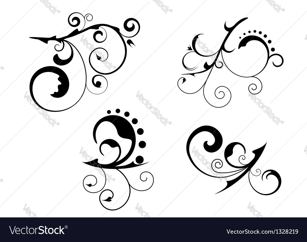 Floral abstract patterns vector image