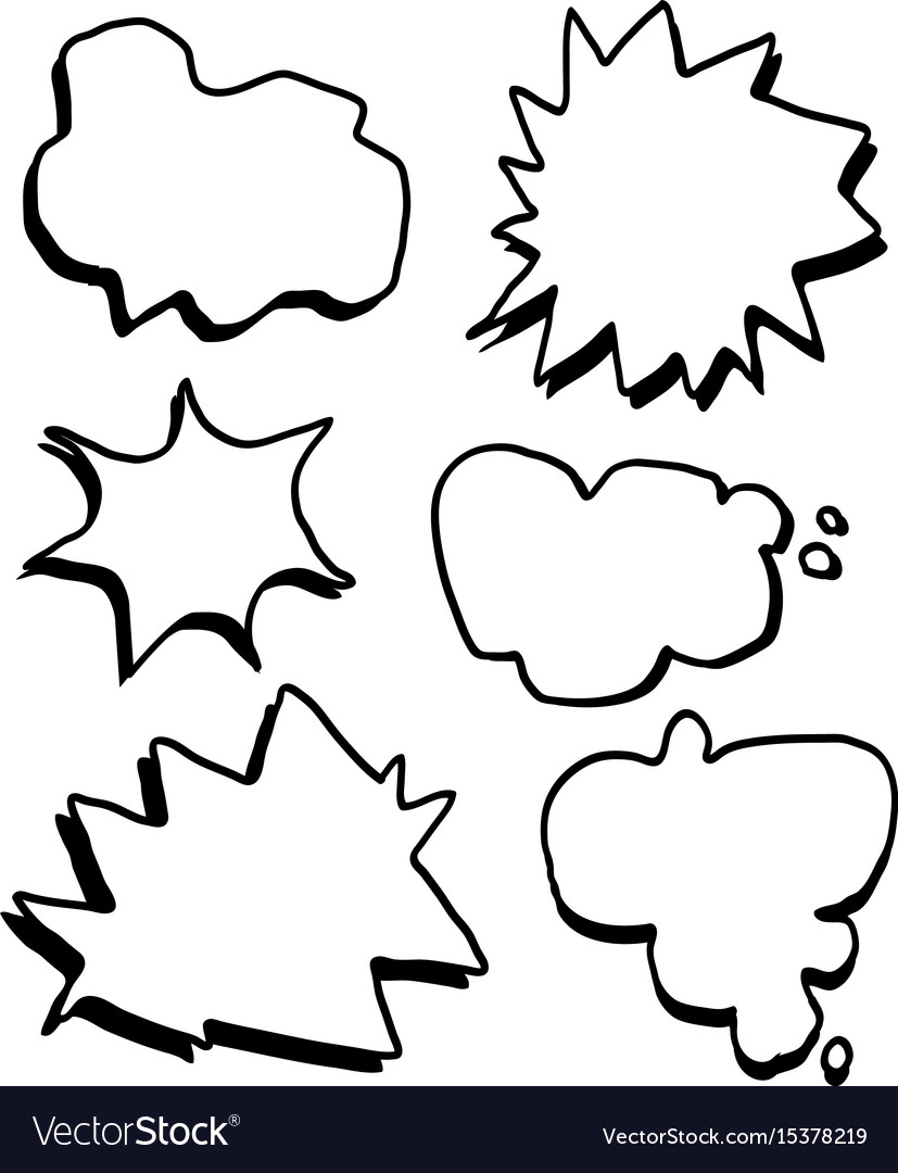 Hand draw comic text boxes set vector image