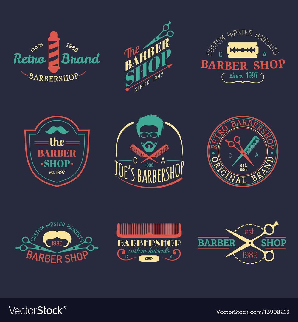 Hipster Barber Shop Logo