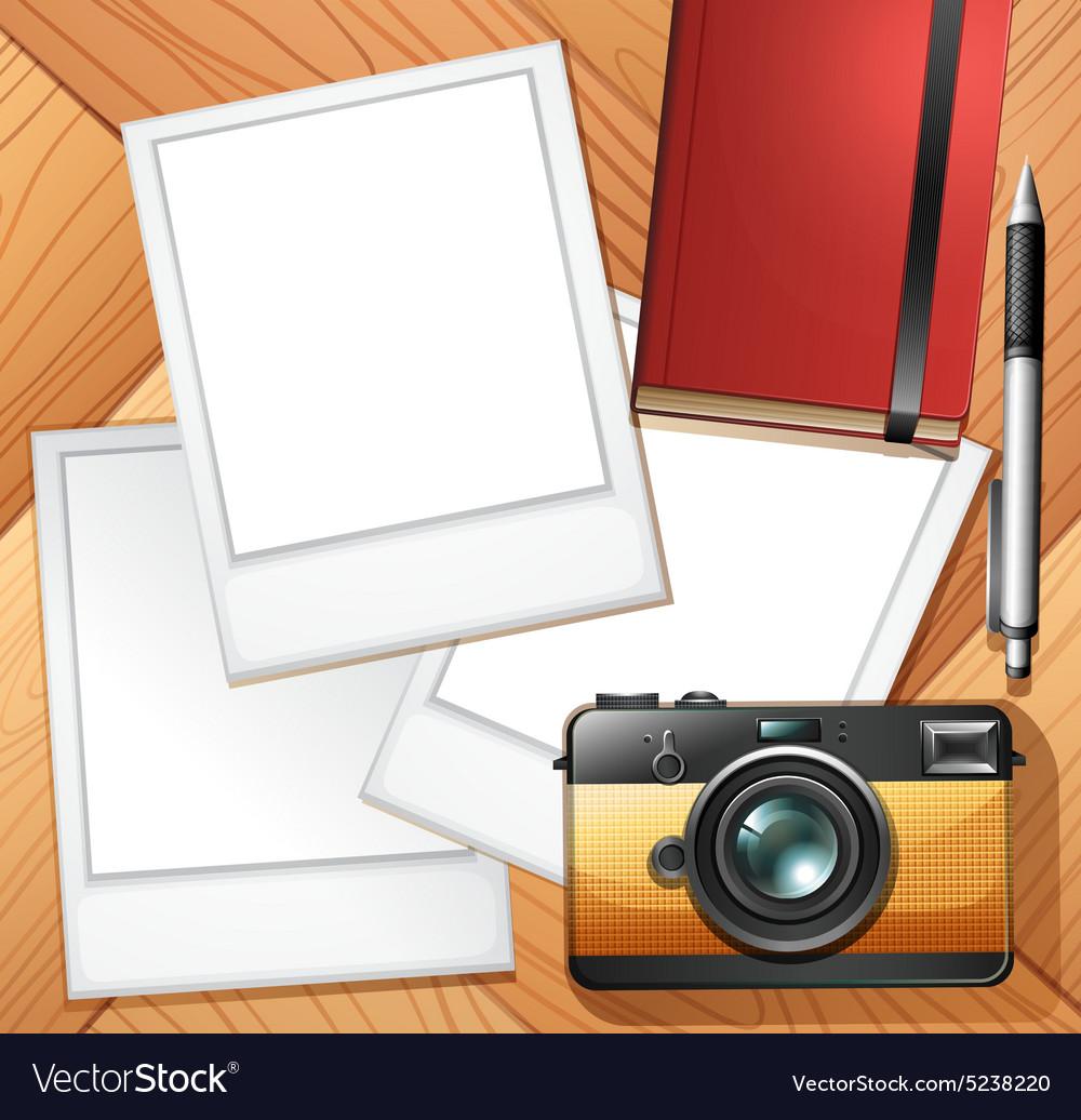 Camera and photo frames Royalty Free Vector Image