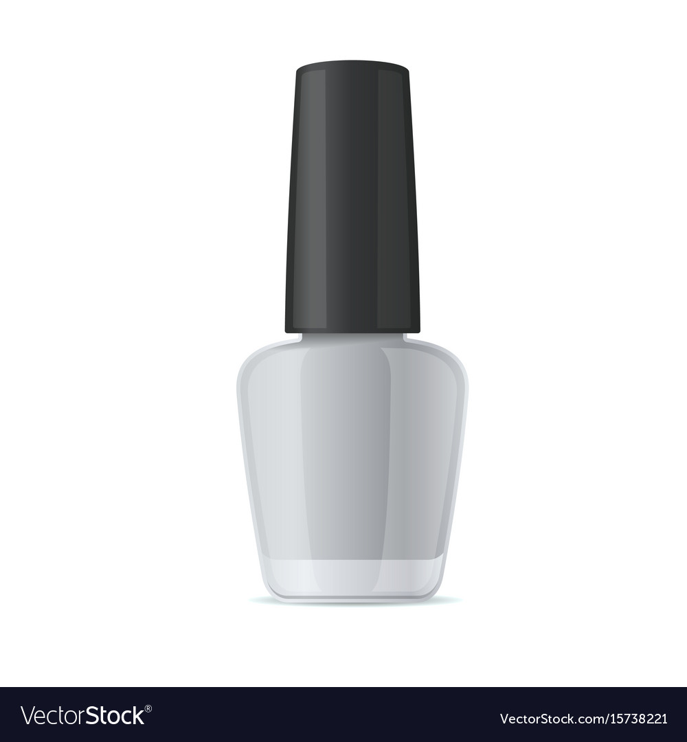 Blank nail polish bottle mockup template on white vector image
